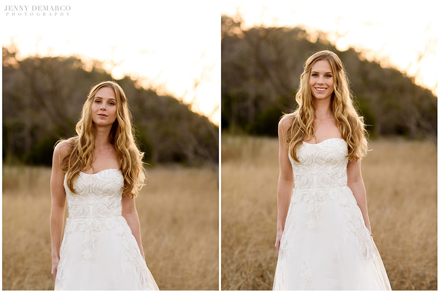 Two golden hour portraits of the bride.