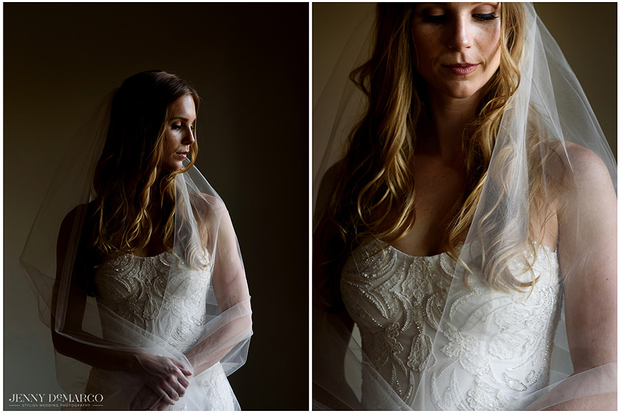Two portraits of the bride in contrasting light.
