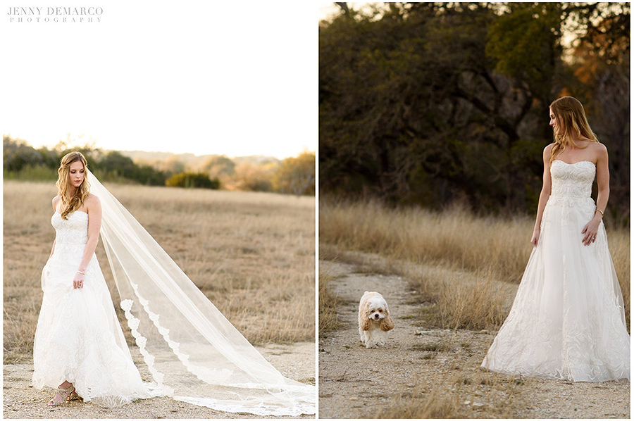 Left: Portrait of the bride walking. Right: Portrait of the bride walking with her dog.