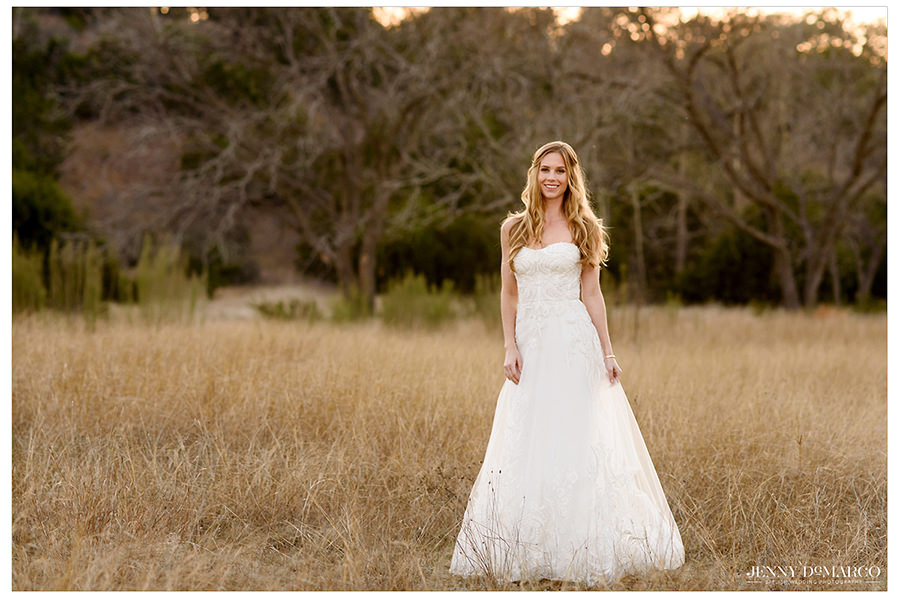 A landscape portrait of the bride at golden hour.