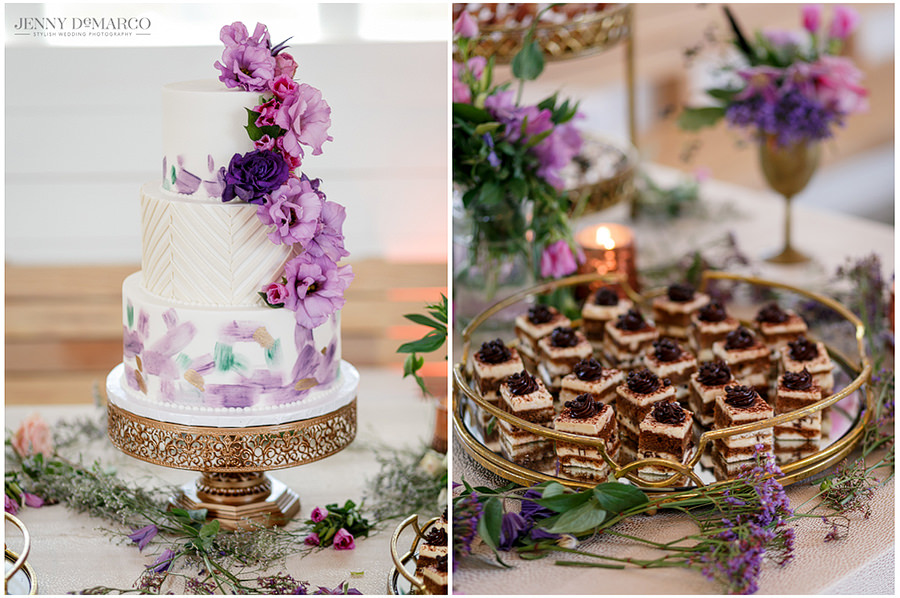 A side by side shot of the cake with purple flower detail and delicate finger food appetizers for the guests.