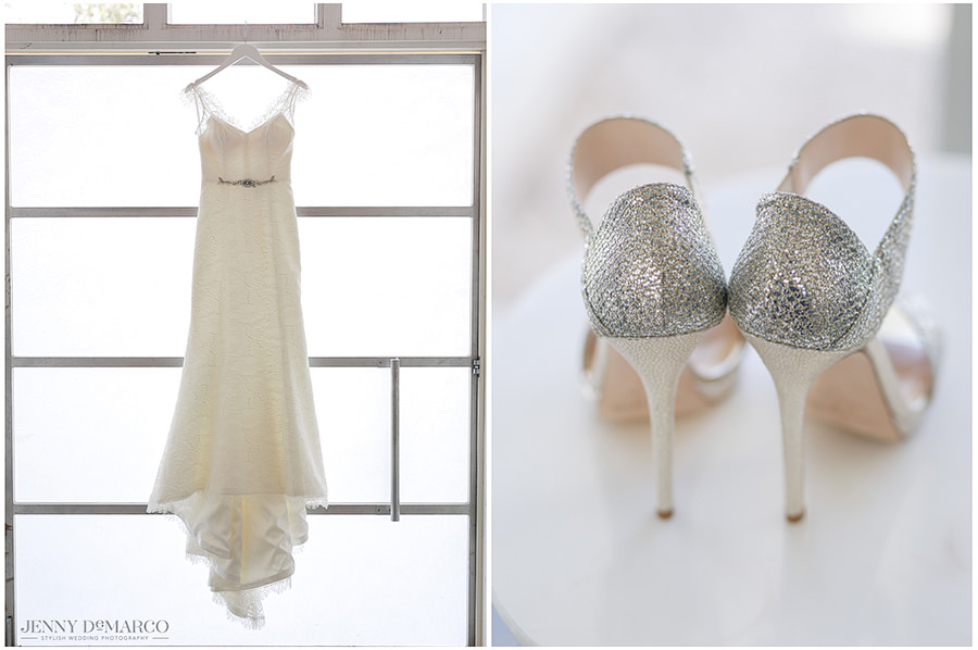 The bride's gown and wedding day shoes.