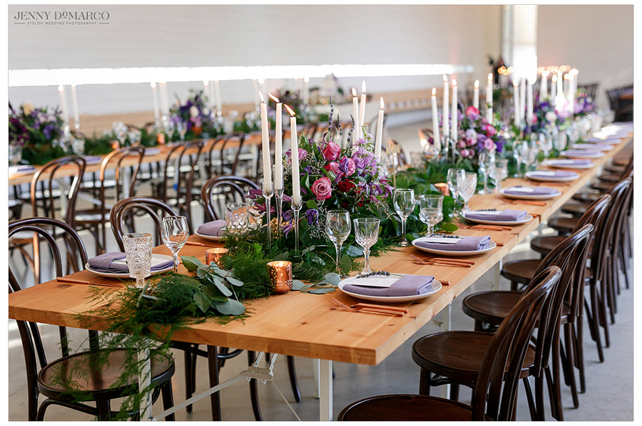 The main dining table with beautiful place settings and center pieces.