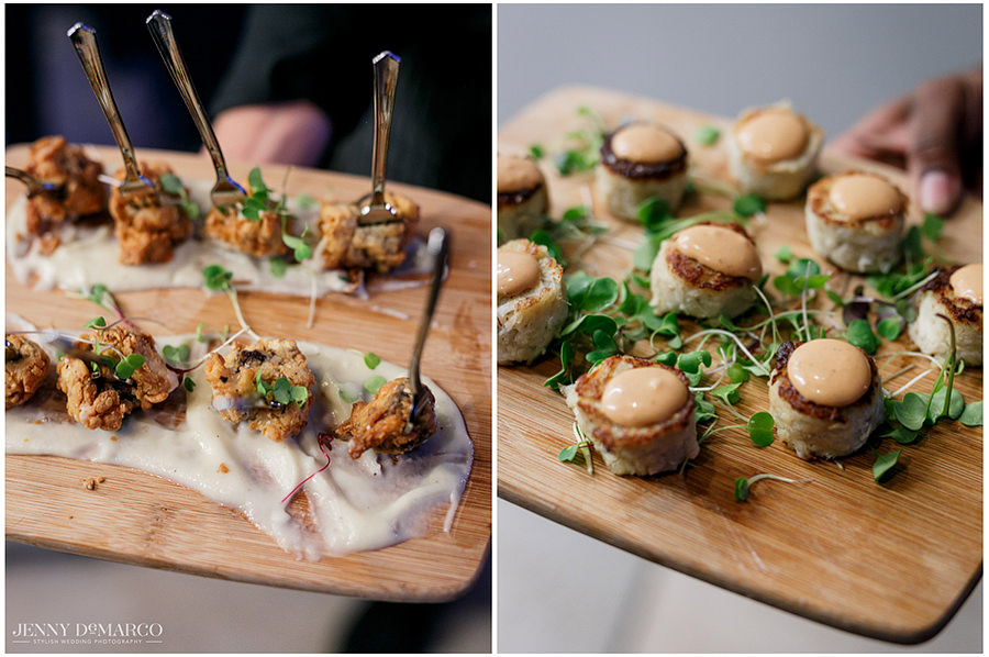 A side by side shot of the hors d'oeuvres being passed out for the guests.
