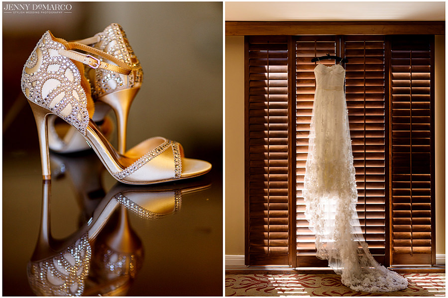 Detail image of the bride's shoes and dress before she got dressed for her big day.