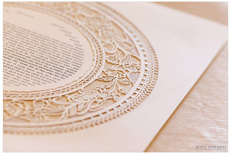 Details on the Ketubah before the bride and groom go to sign it.