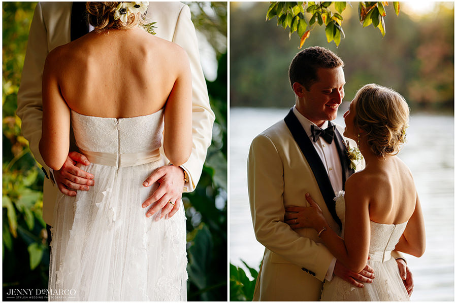 Close up shot of the back of the brides dress and an intimate portrait of the couple at sunset.