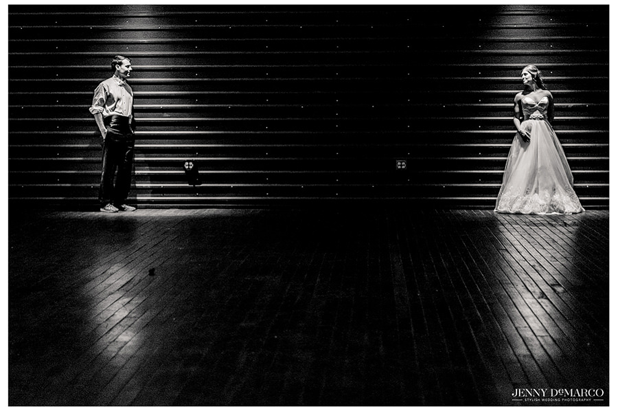 Portrait of bride and groom on the rooftop at Brazos Hall.