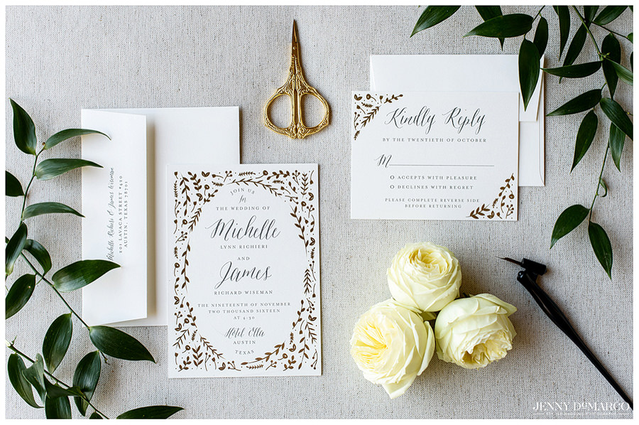 Invitations to Michelle and James's wedding at Hotel Ella.