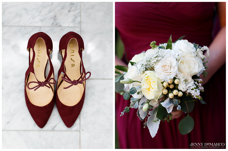 Detail of bridesmaid shoes, bouquet, and dress