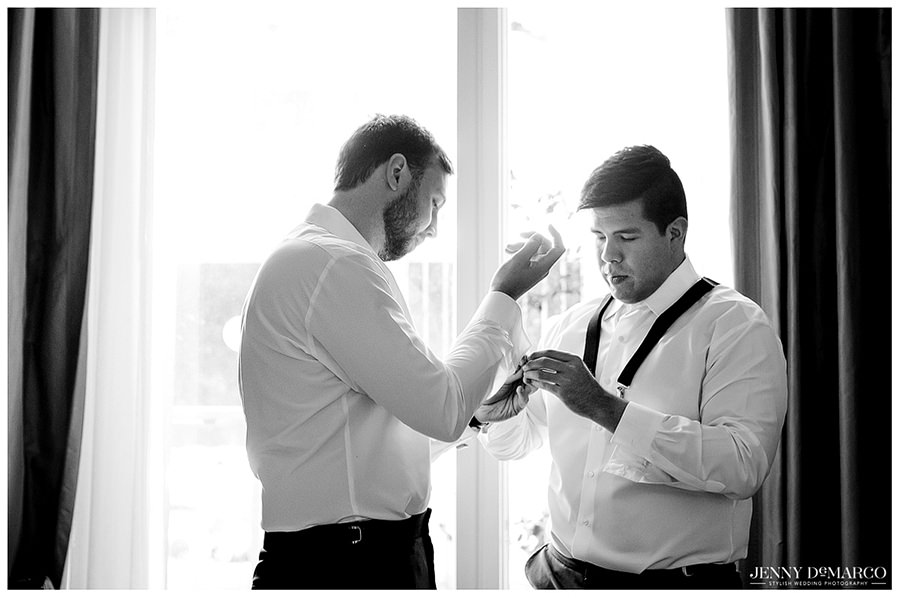 Groom getting ready for the wedding
