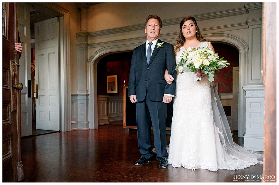 Bride and Father of the Bride about to walk down the aisle