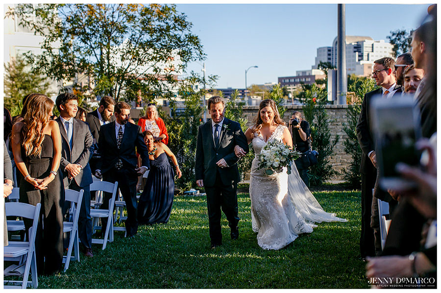 Bride and Father of the Bride walking down the aisle in Austin, Texas