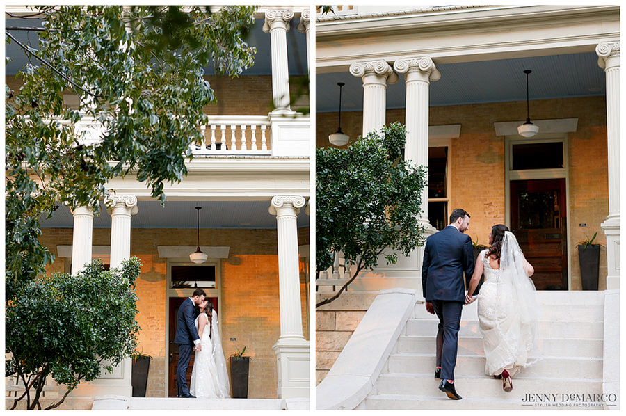 Bride and groom after their wedding on the porch of Hotel Ella.
