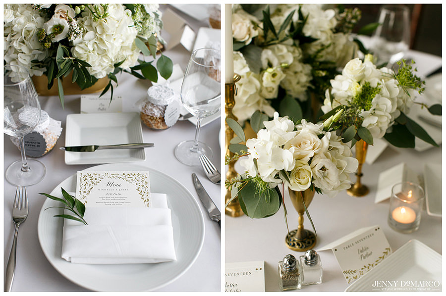 Invitation and floral details at wedding reception at Hotel Ella