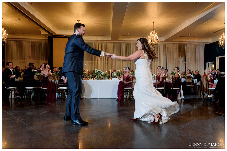 Bride and groom sharing their first dance as a married couple.