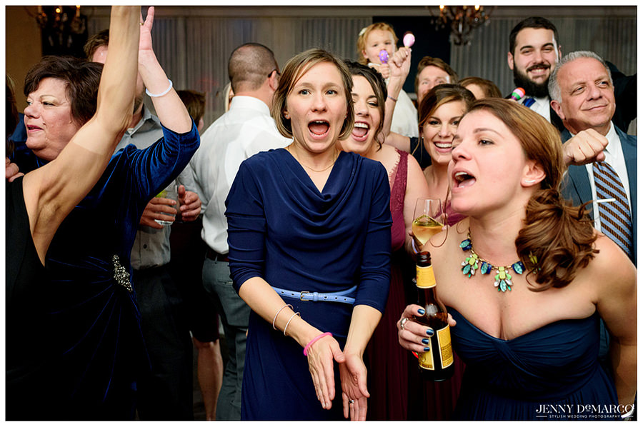 Guests having fun at the wedding after-party.