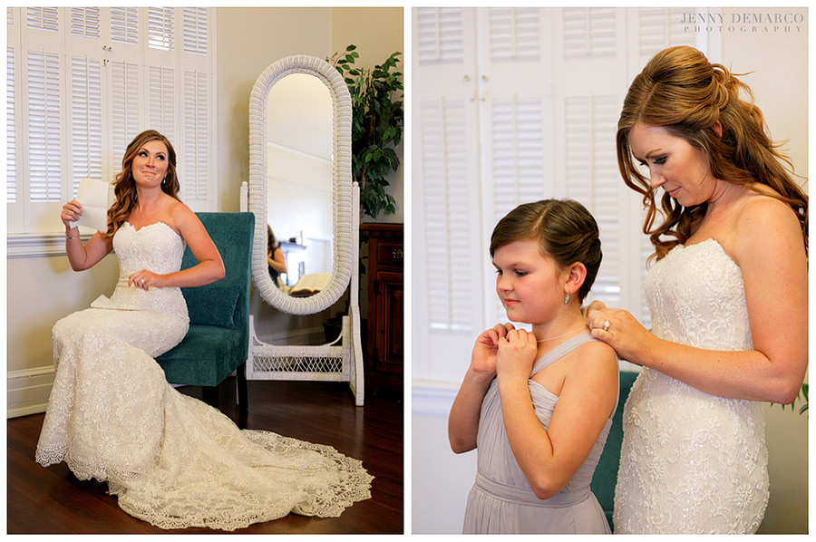 Bride emotional before wedding with her daughter