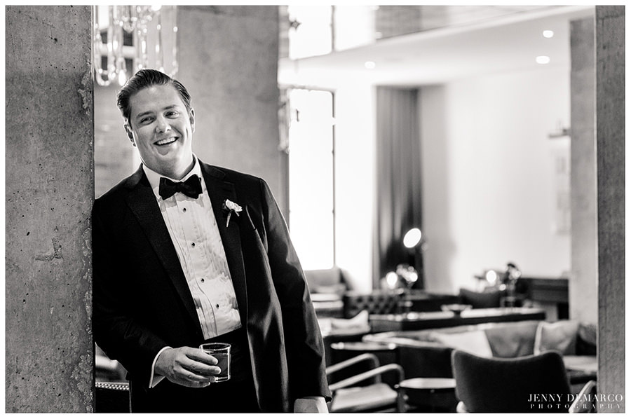 Groom smiling for camera at Central Christian Church