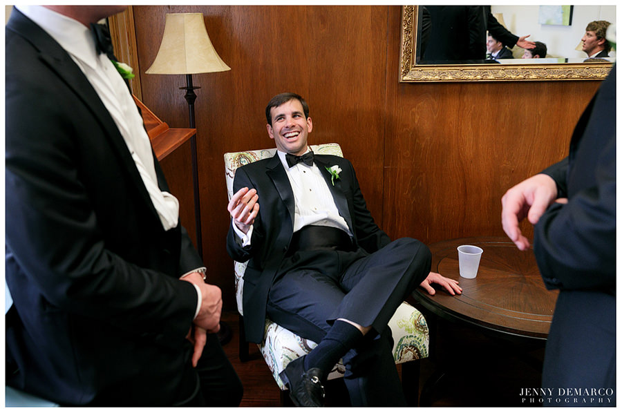Groomsman relaxing before wedding at Central Christian Church