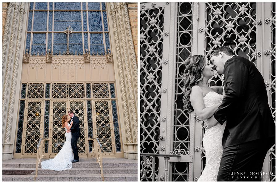 Bride and groom sharing a pre-wedding kiss in front of the steps at Central Christian church
