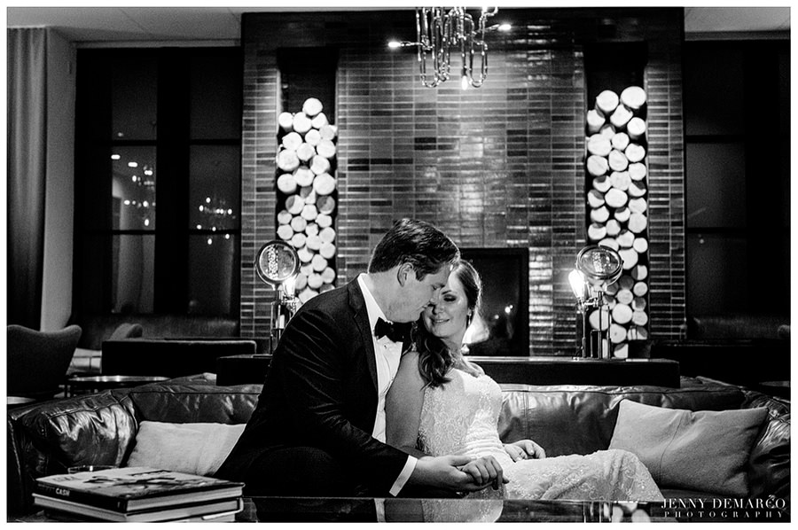 Bride and groom sharing an intimate moment before making their entrance at the reception dinner at hotel Van Zandt in Austin, Texas