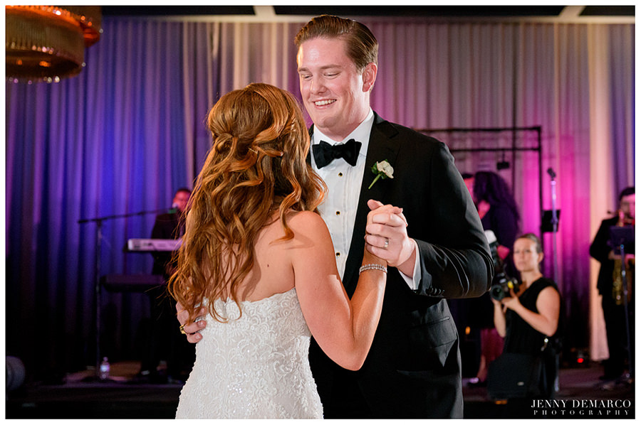 Bride and groom's first dance at hotel Van Zandt