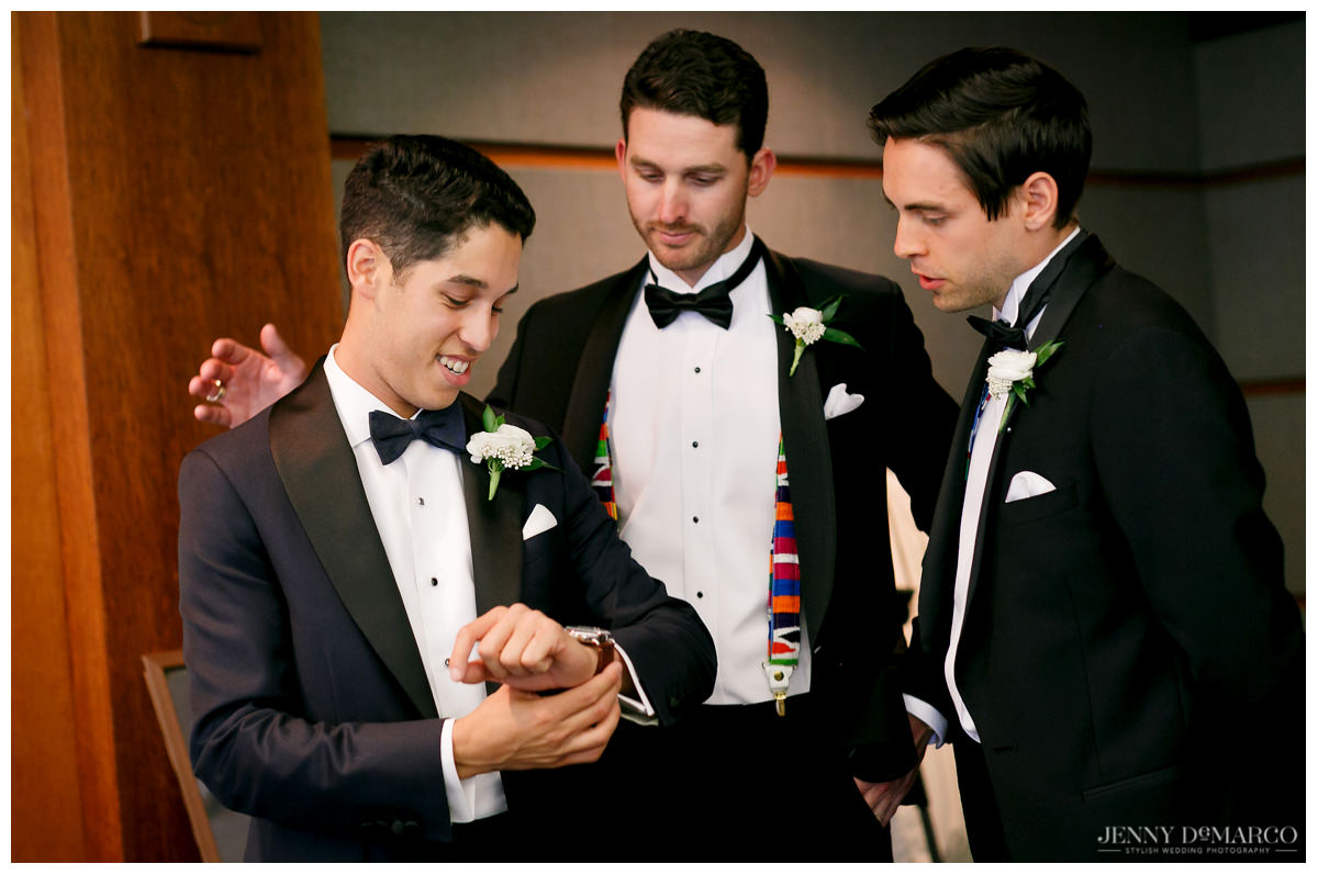 Groomsmen getting ready for the big day