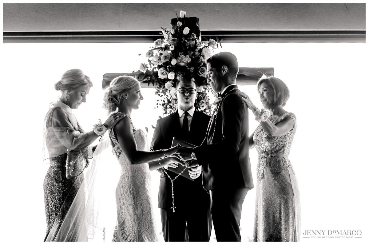 Lasso during wedding ceremony at Barton Creek Pavilion