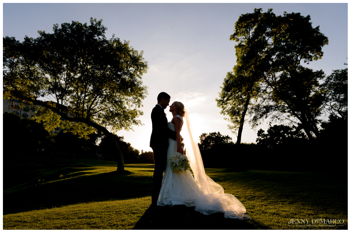 Bride and groom in hill country of austin, texas