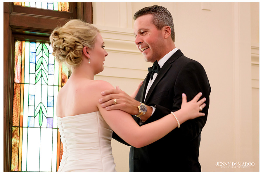 Bride and her father share a sweet moment before the ceremony