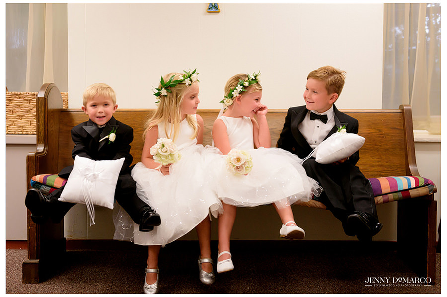 Flower girls and ring bearers hang out before the ceremony