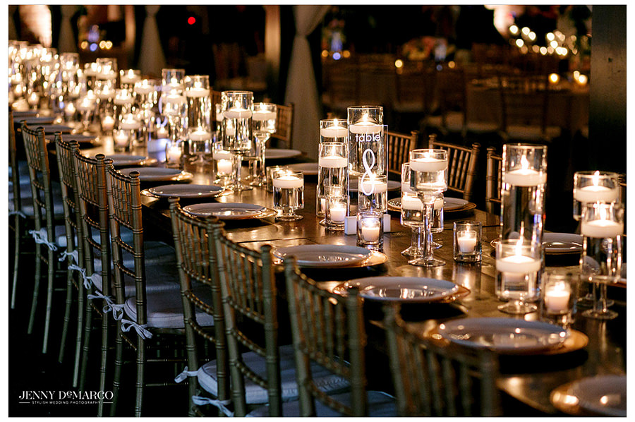 Candlelit table at Brazos Reception Hall