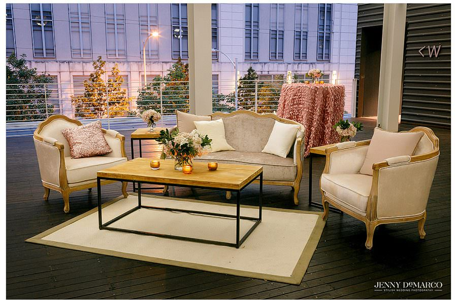 Lounge area at the wedding reception at Brazos Hall