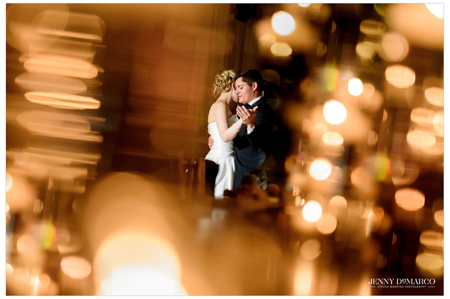 Bride and Groom share a private dance at Brazos Hall