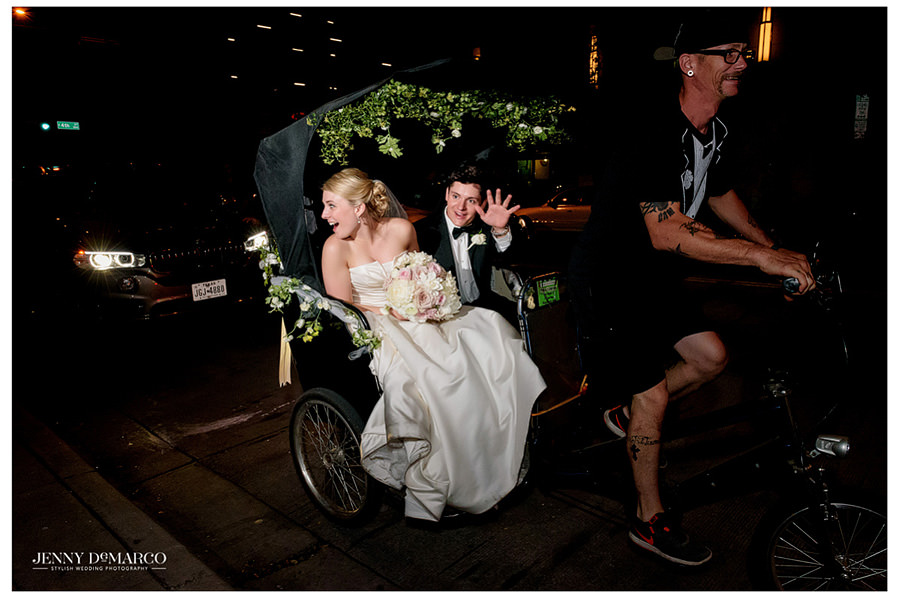 Bride and Groom jump into a pedicab after reception