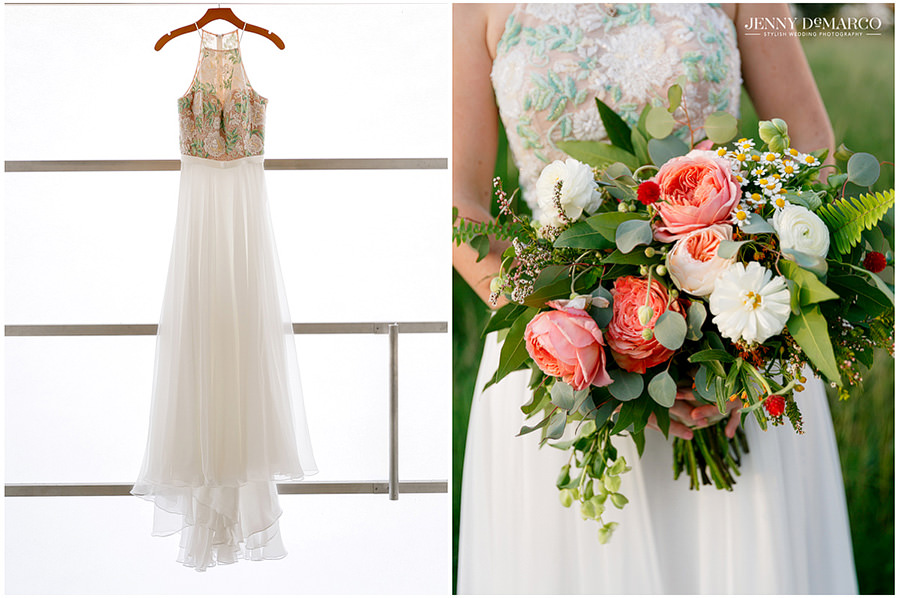 Beautiful wedding gown and bride's bouquet by Petal's Ink in Austin, Texas
