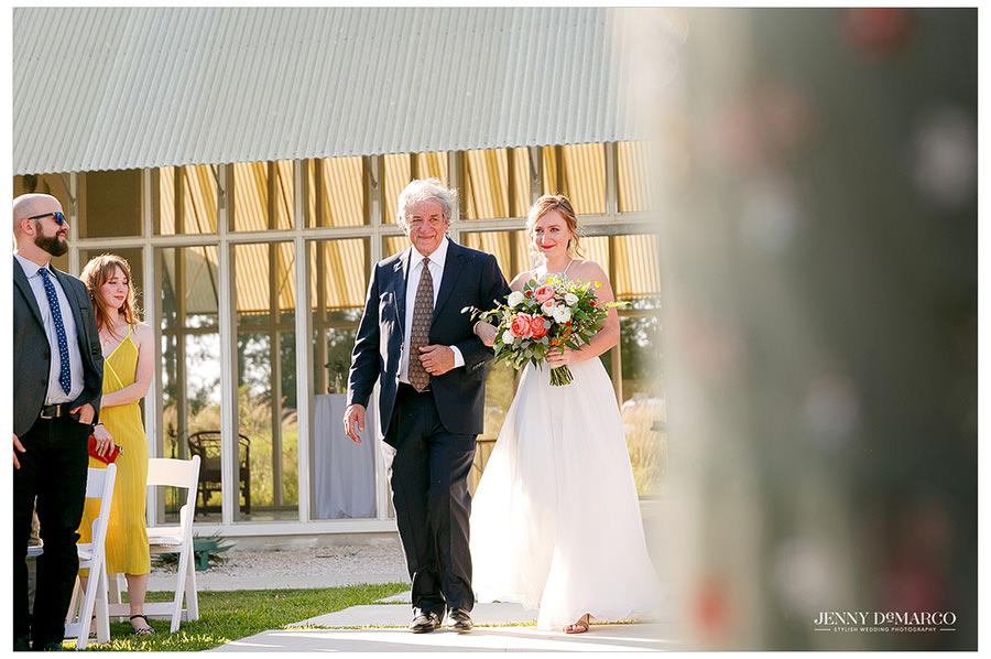 Father walks his father down the aisle at Prospect House in Dripping Springs