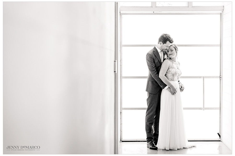 black and white shot of bride and groom at prospect house