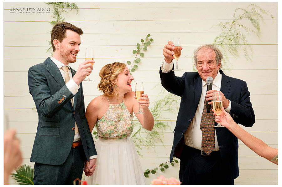 Bride's father toasts the happy couple