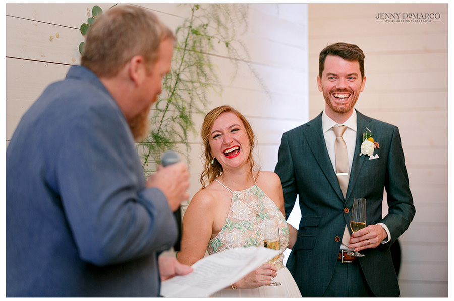 Groom's relative gives toast at wedding