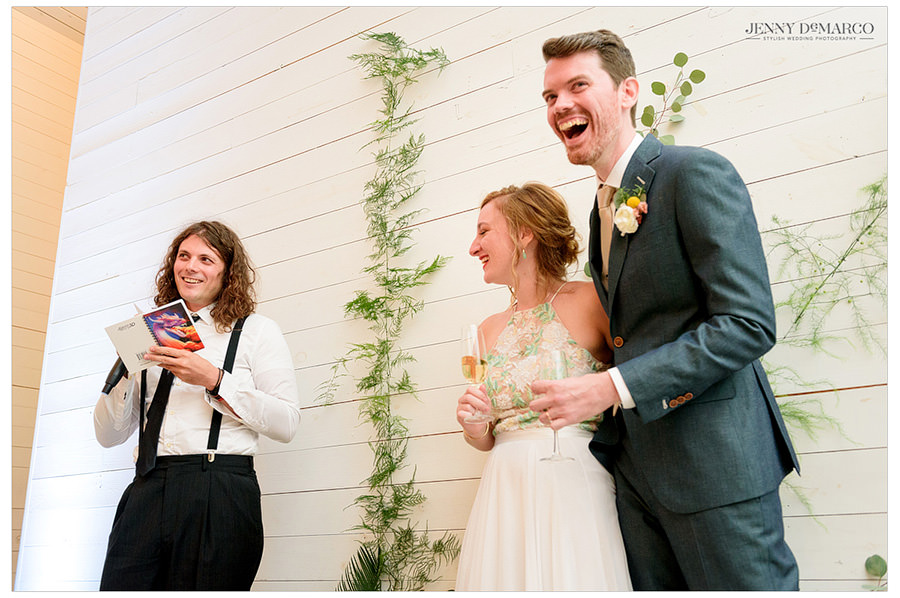 Best man toasts the bride and groom