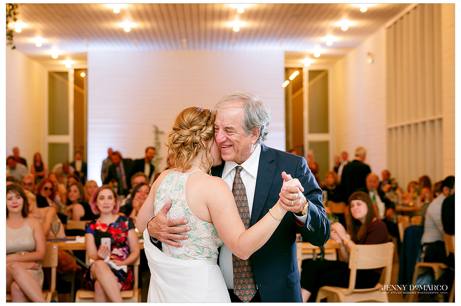 Bride and her father dance at her wedding reception