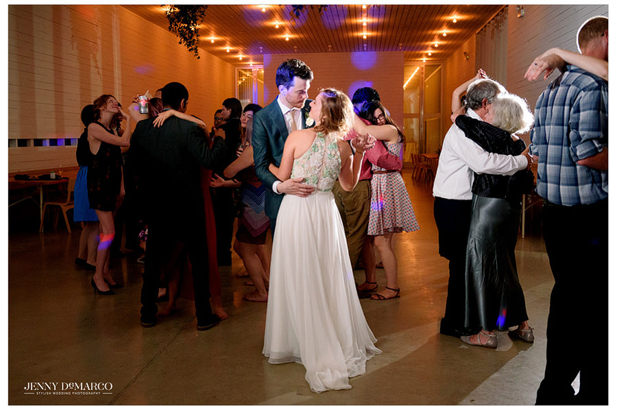 Bride and Groom share a last dance at their wedding