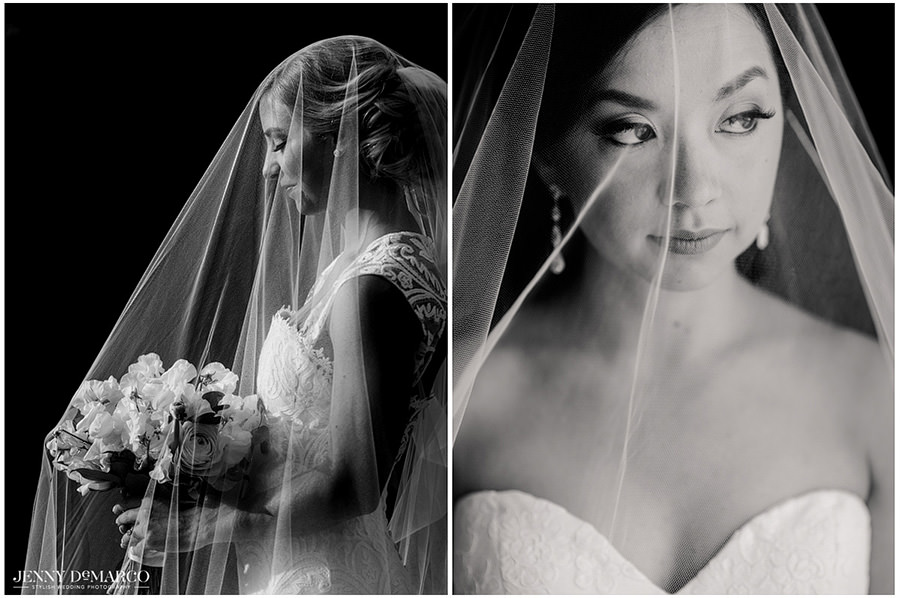 Two black and white bridal portraits with the veil over the brides face.