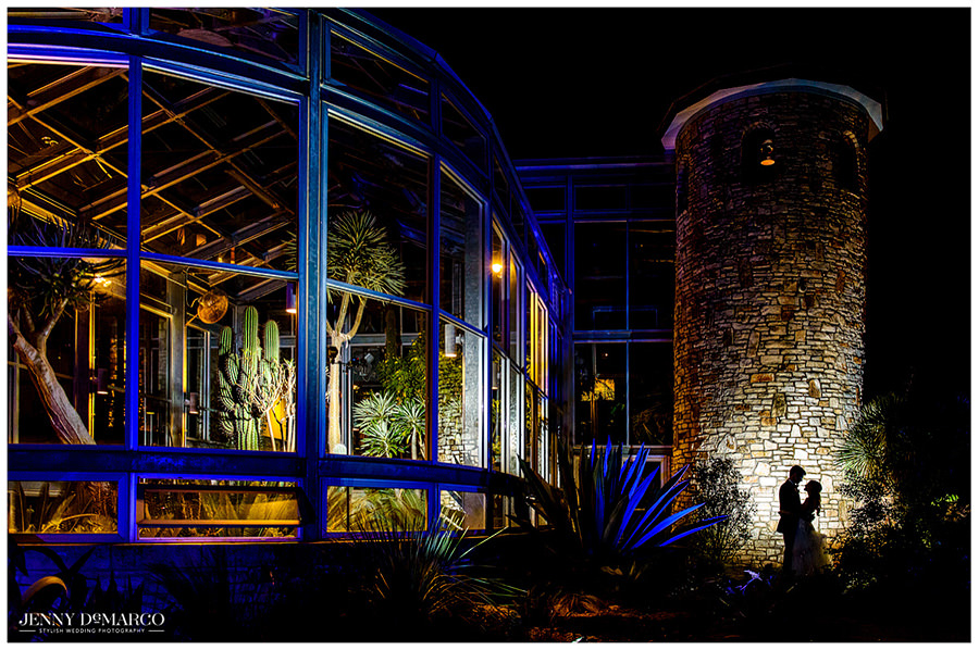 Bride and Groom night photo at the Greenhouse in Driftwood.