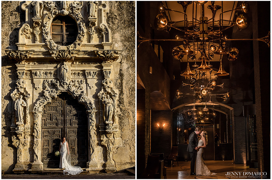 Bridal portrait at the San Antonio missions and Bride and Groom in the Hotel Van Zandt Lobby.