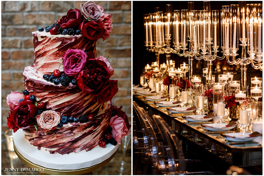 A double photograph shot by Jenny DeMarco to show the cake and candles. The cake is shades of pink and red icing and accented with flowers and blueberries.