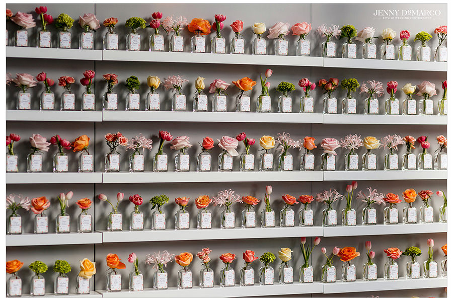 Floral seating chart wall by Luxe Florals