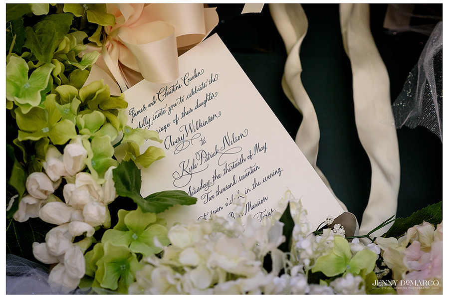 an elegant shot of the details of the gorgeous invitation